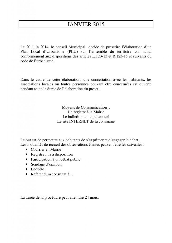 INFORMATIONS AU PUBLIC N°1